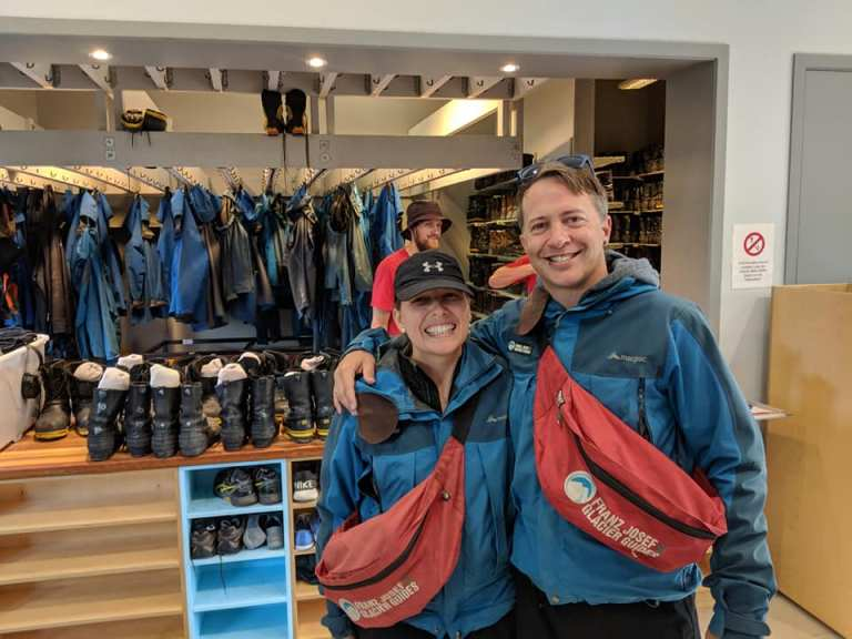 Getting ready for our Franz Josef Glacier helihike with all of the gear