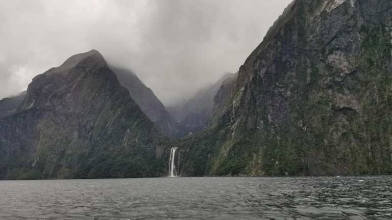 Milford Sound cruise on a rainy day South Island New Zealand