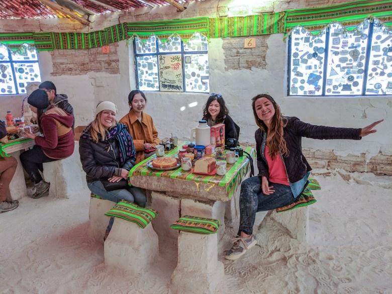 Breakfast inside the salt hotel at Salar de Uyuni