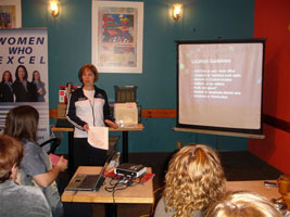 Professional organizer Julie Stobbe sharing tips with other local businesswomen