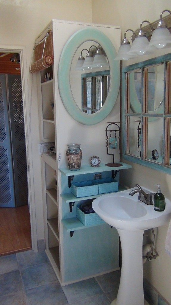Hair and Makeup in Small Bathroom  Organized Beautifully