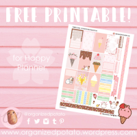 Free Planner Printable: Strawberry Ice Cream