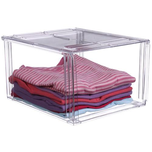Crystal Clear Clothing Storage Bin In Shelf Bins