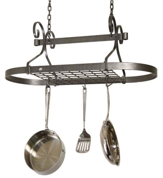 Oval Scroll Hanging Pot Rack In Hanging Pot Racks