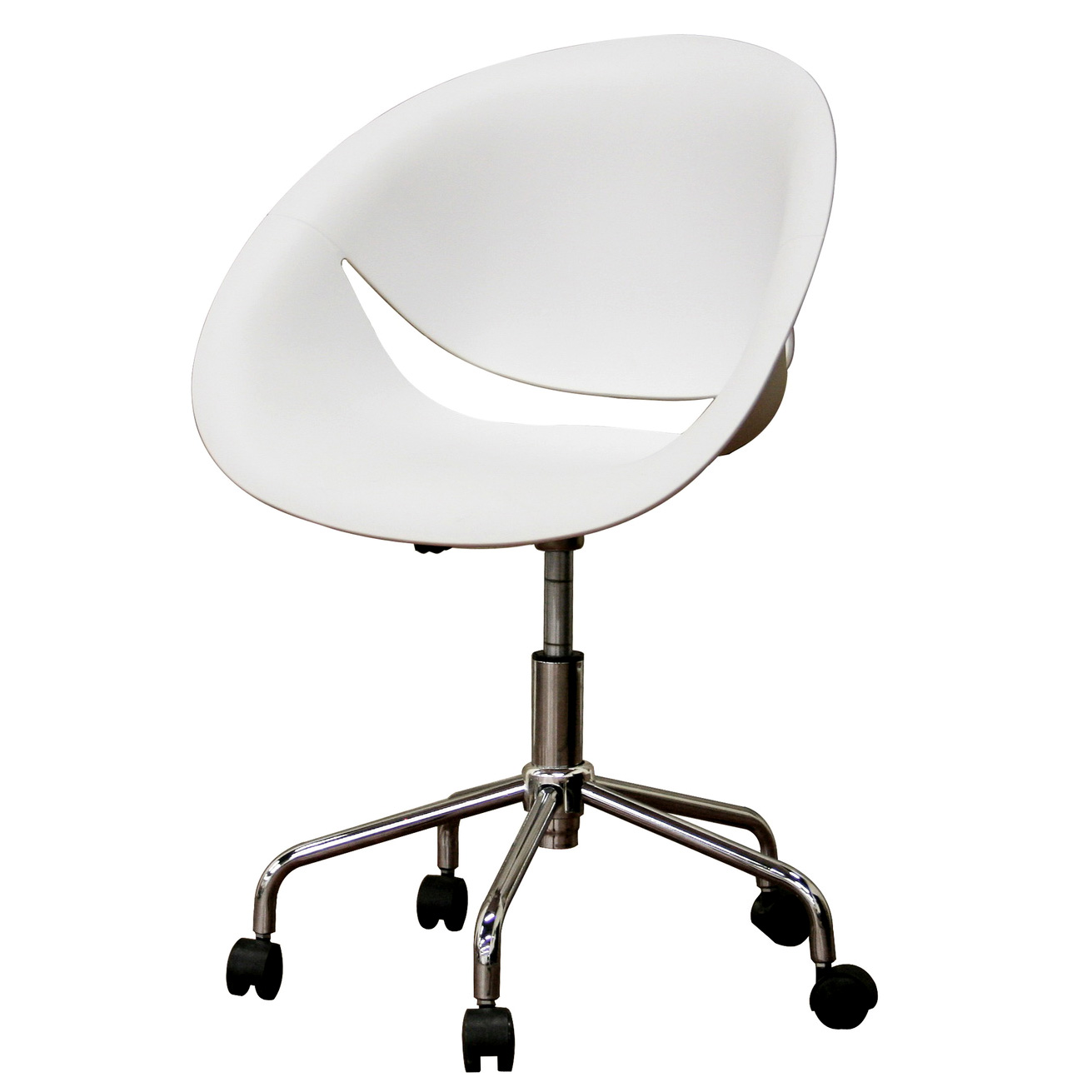 White Swivel Desk Chair Plastic Swivel Office Chair In Modern Chairs