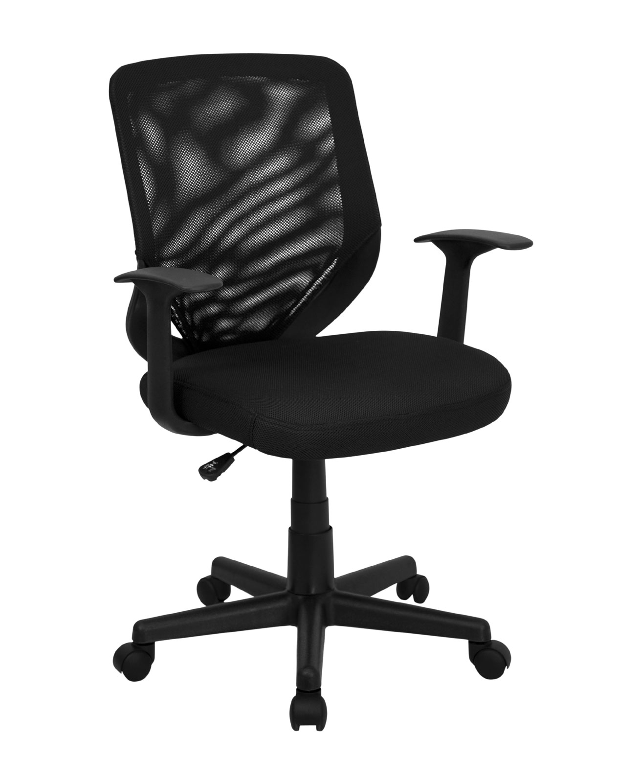 Black Office Chairs Mid Back Black Mesh Office Chair With Mesh Fabric Seat By