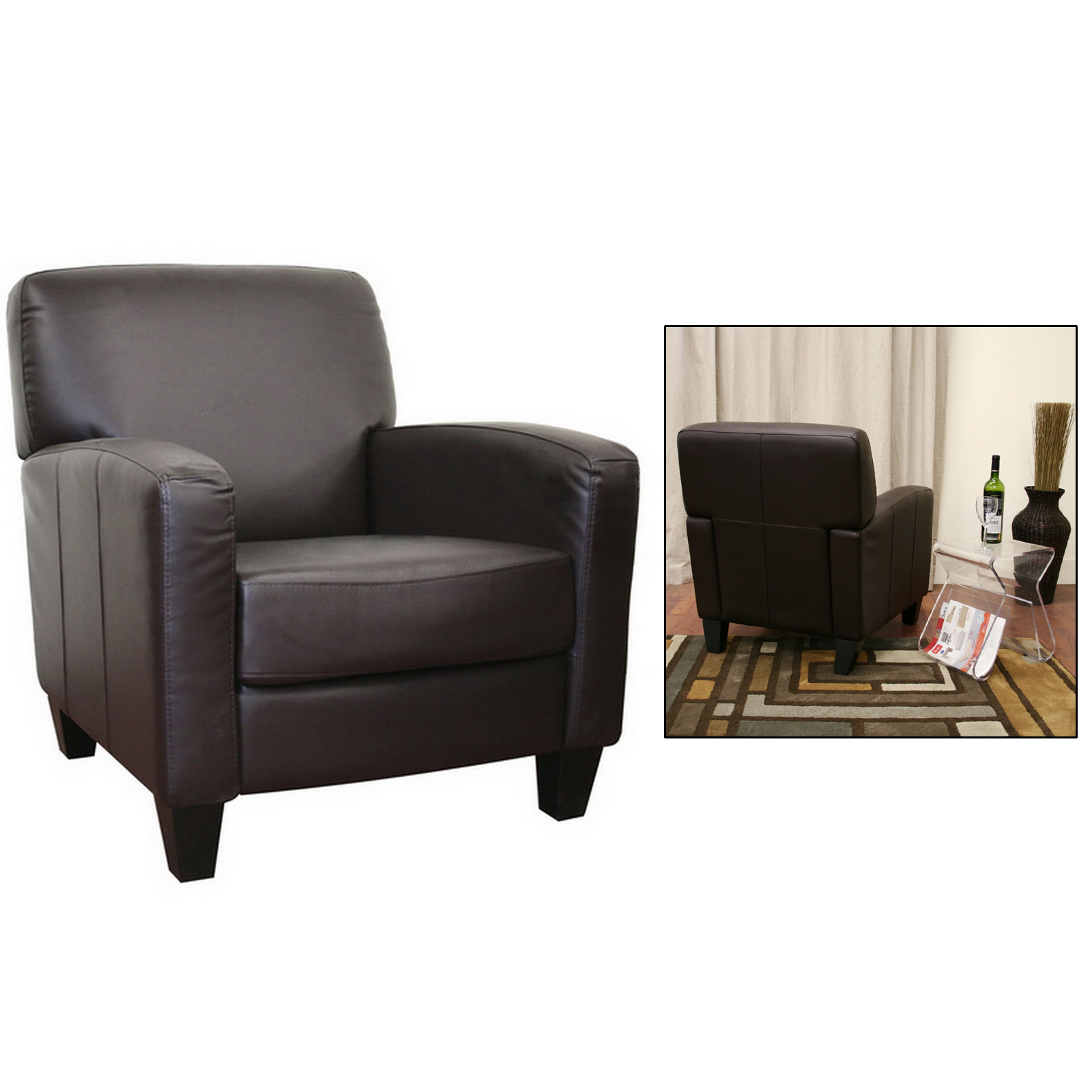 Cheap Club Chairs Stacie Brown Leather Modern Club Chair By Wholesale