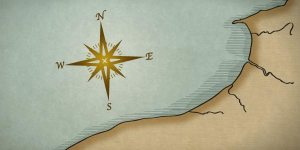 close up of compass rose