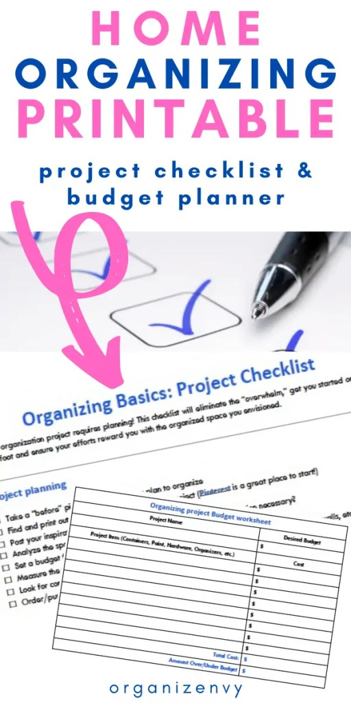 Free Organizing Project Checklist and Budget Worksheet