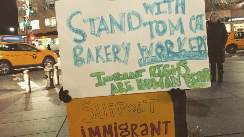 Allies of fired Tom Cat workers educating customers outside of Robert restaurant in NYC