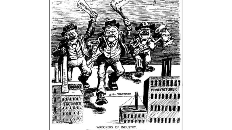 Anti-union cartoon from Saturday Night magazine (Toronto), 1903