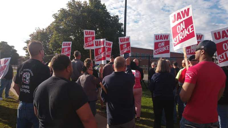 Striking GM workers rally in front of the Lexington Avenue plant in Rochester, NY, September 16, 2019