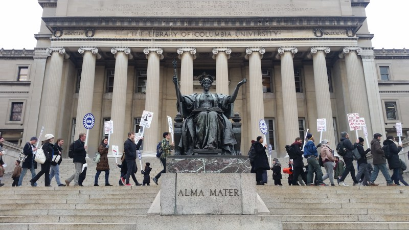 Students at Columbia University picket to demand recognition from the administration, November 2017