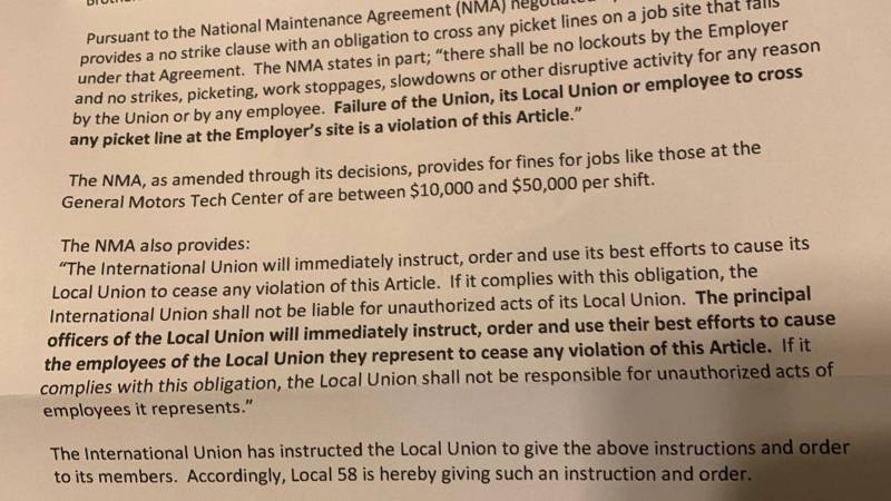 IBEW Local 58 letter to members warning them they had to cross picket lines