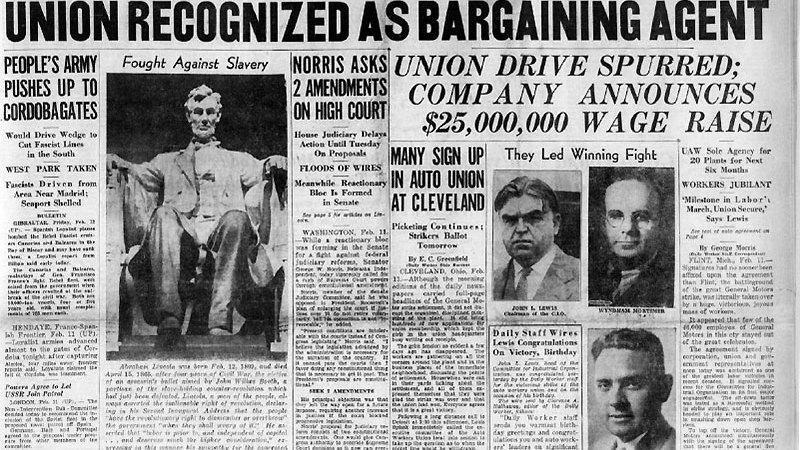 Daily Worker Headline 1937