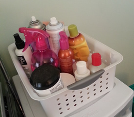 My Hair Products in Sterilite Bin