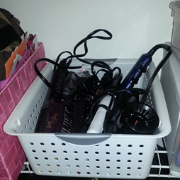 Hair Appliances in Sterilite Bin