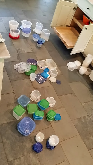 How to Organize Tupperware and Containers - floor space mid-session