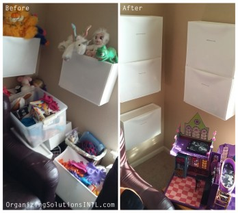 Organizing a Toy Room - Before and After Organized Toy Room Corner