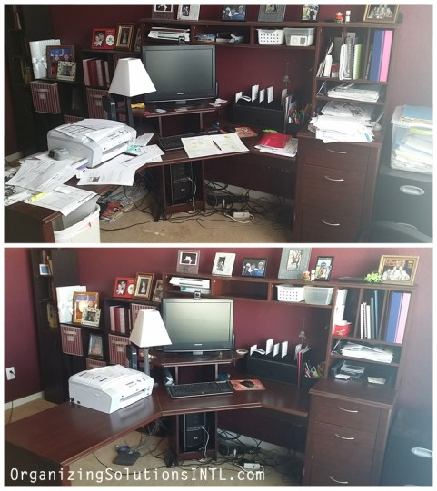 Organizing Paperwork in a Home Office - organized and de-cluttered desk before and after