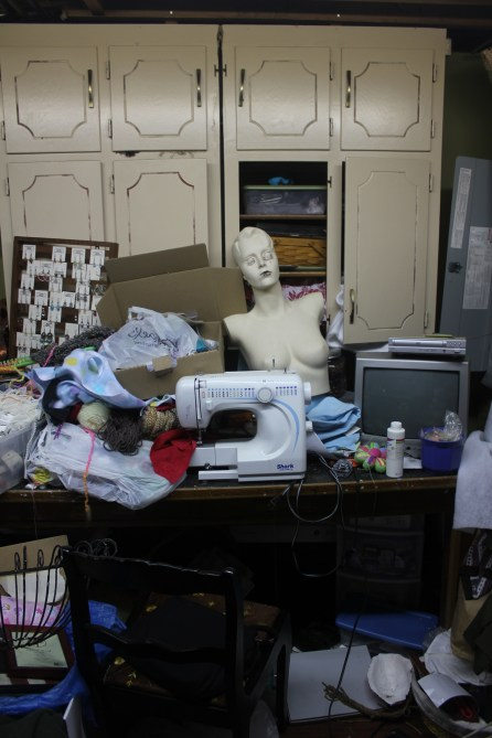 a craft room rediscovered part 2 - messy sewing workspace