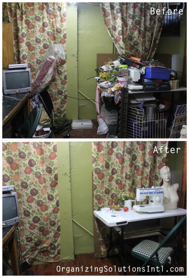 A Craft Room Rediscovered part 3 - before and after organized sewing corner