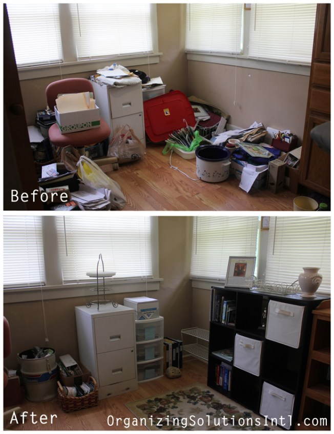 Tupperware and Troubled Corners - Organized Home Office Before and After