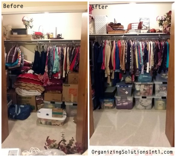 Organizing a Decor Closet - Organized Closet Before and After