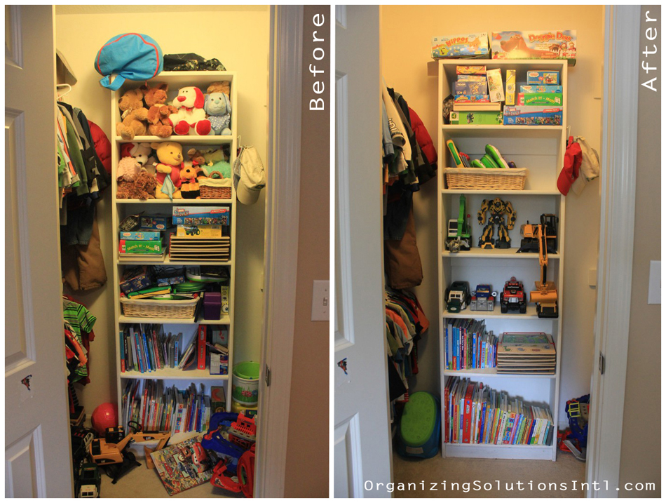 Little Boys and Their Toys - Organized Closet Before and After