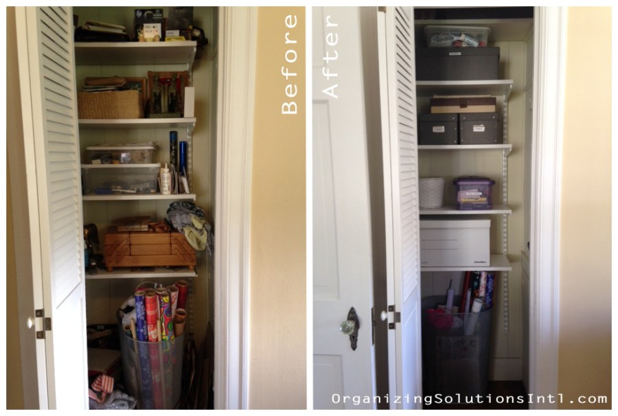 That Awkward Closet - Organized Home Office Closet Before and After