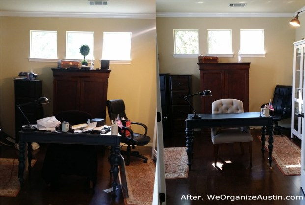 Professional Organizer Austin - Catch-all Home Office - Cluttered Home Office Organized Home Office