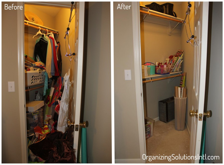 Congested Closet Turned Creative Corner - Before and After Storage Closet