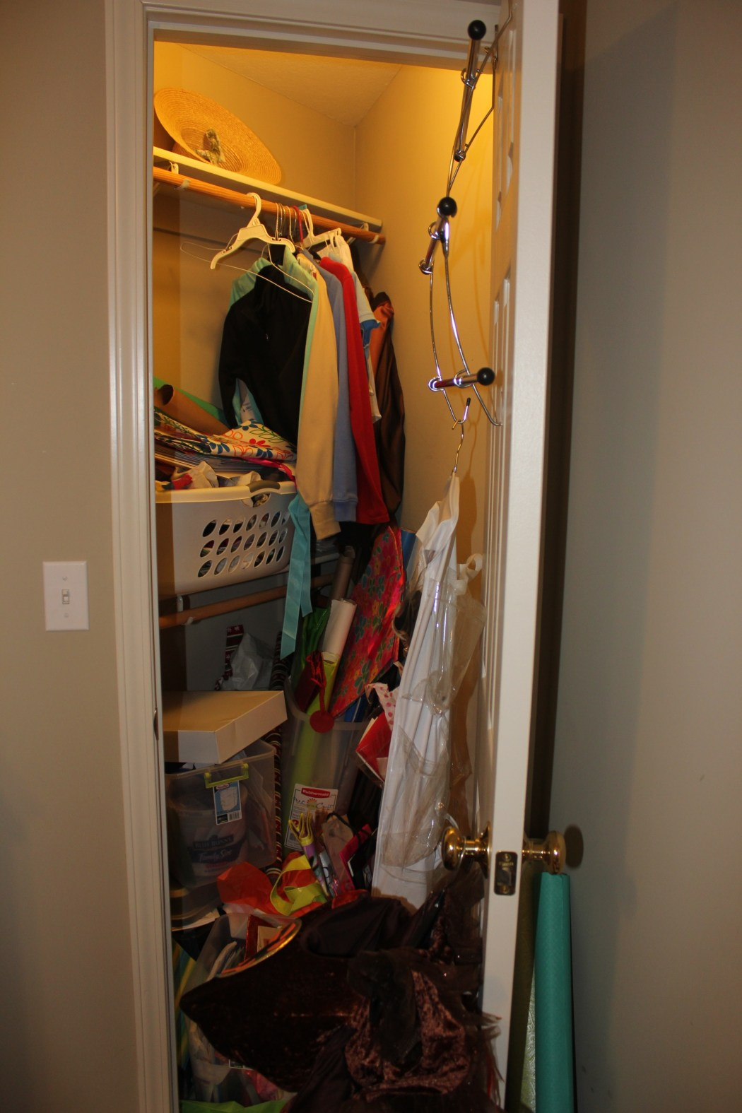 Congested Closet Turned Creative Corner- messy closet