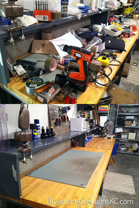 Dads Tool Bench Organized - Before and After