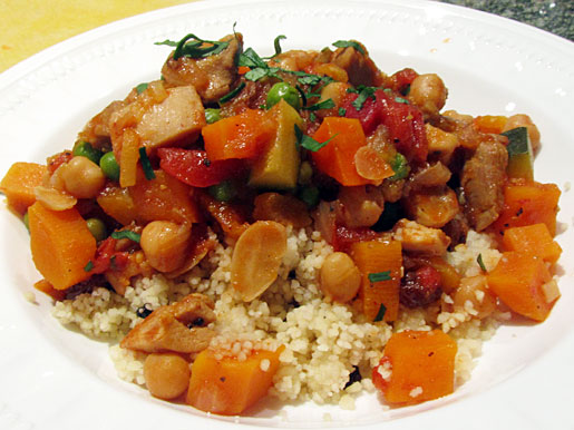 Chicken Marrakesh served over couscous with currants