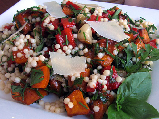 Roasted Caramelized Squash, Peppers and Fregola Sarda Salad