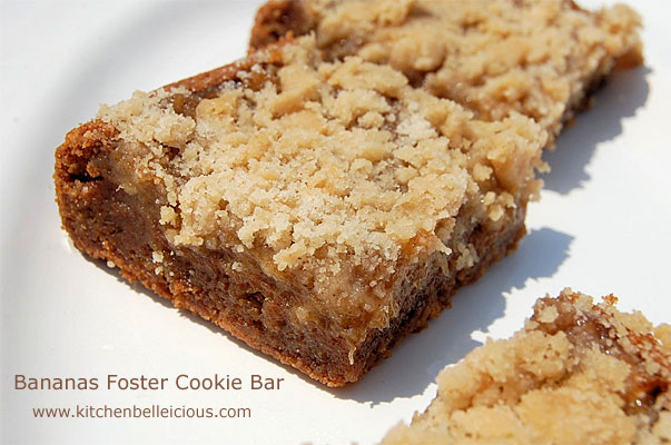 Bananas Foster Cookie Bars by kitchenbelleicious.com