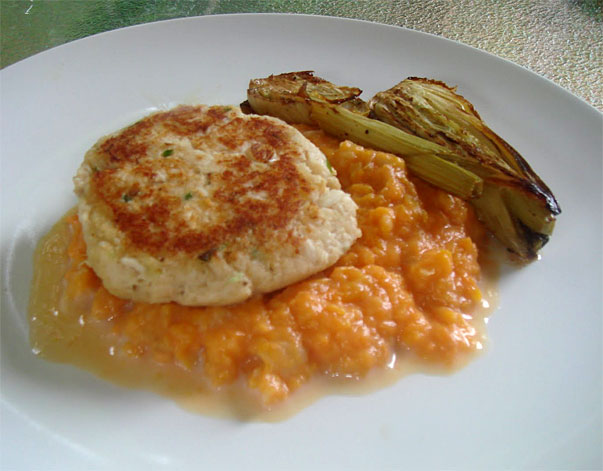 Cod Cakes with Mashed Sweet Potato and Roasted Fennel by chowandchatter.com