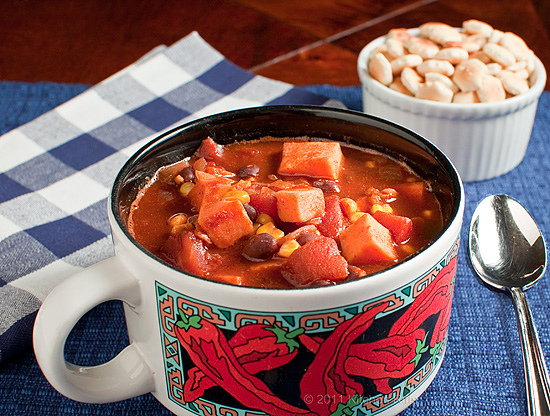 Sweet Potato Chili with Black Beans by Kitchenriffs.com