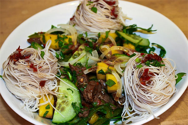 Mango and Beef Salad with Rice Noodles by Charles Smith of Five Euro Food