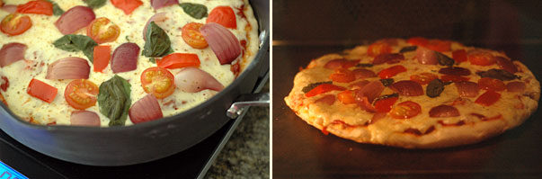 making one pan pizza