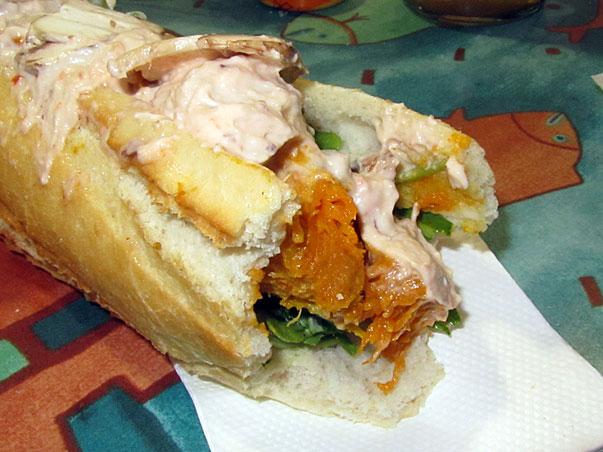 pumpkin, pine nut and rocket sandwich