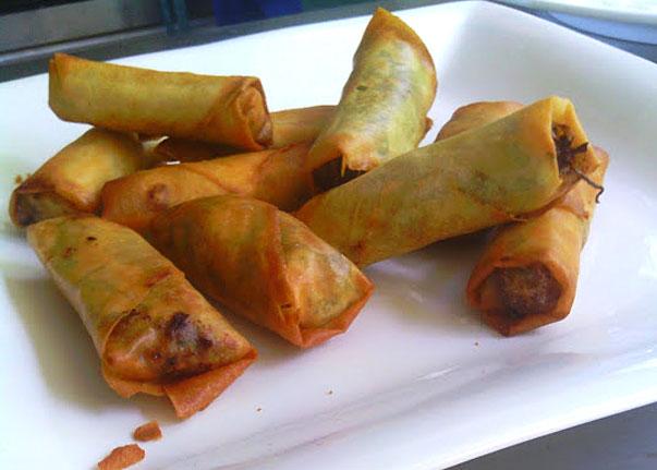 Pork and macadamia sate spring rolls