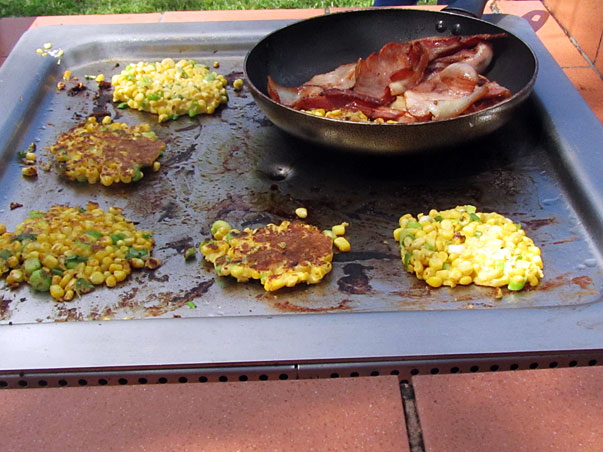 Corn Fritters on the bbq