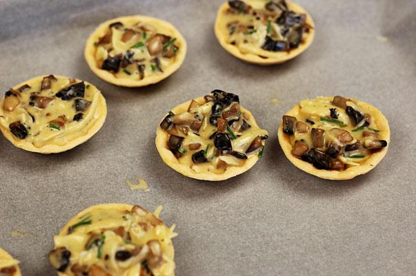 easy mushroom tart with truffle oil
