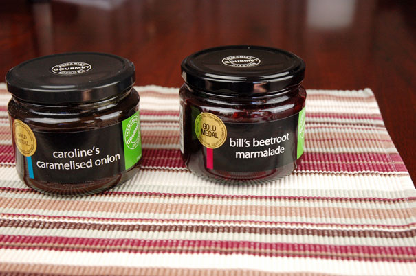 Bill and Caroline's beetroot jam and caramelized onions