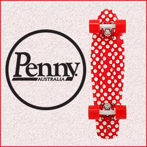 Red and White Polka-dot Penny Skateboard