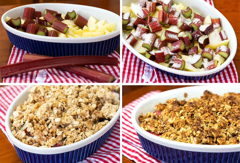 How to make apple rhubarb crumble