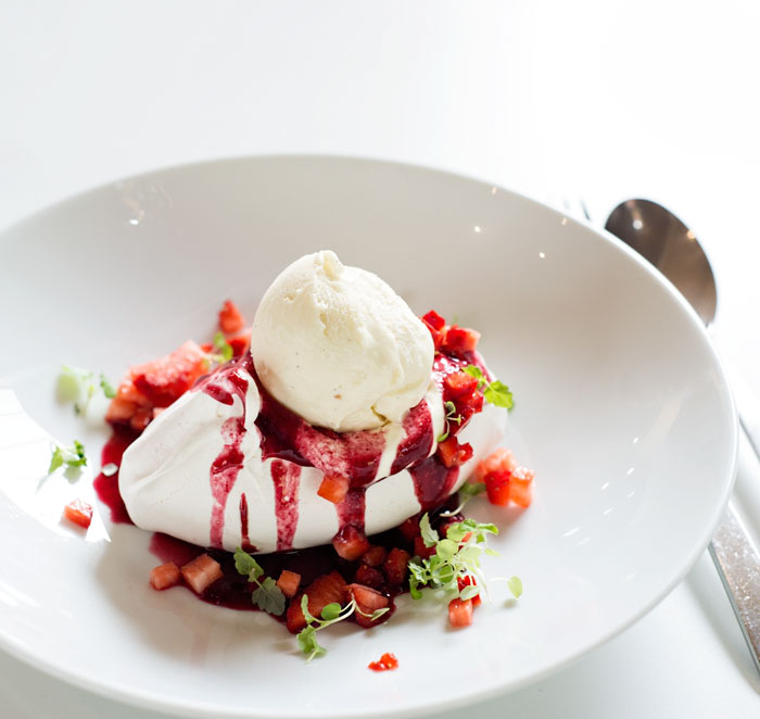Individual Pavlova with Strawberries and Ice Cream