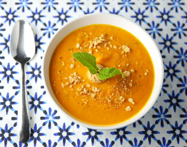 This Velvety Carrot Ginger and Mint Soup has the perfect blend of flavors and is so delicious! This is Vegetarian and Dairy Free!